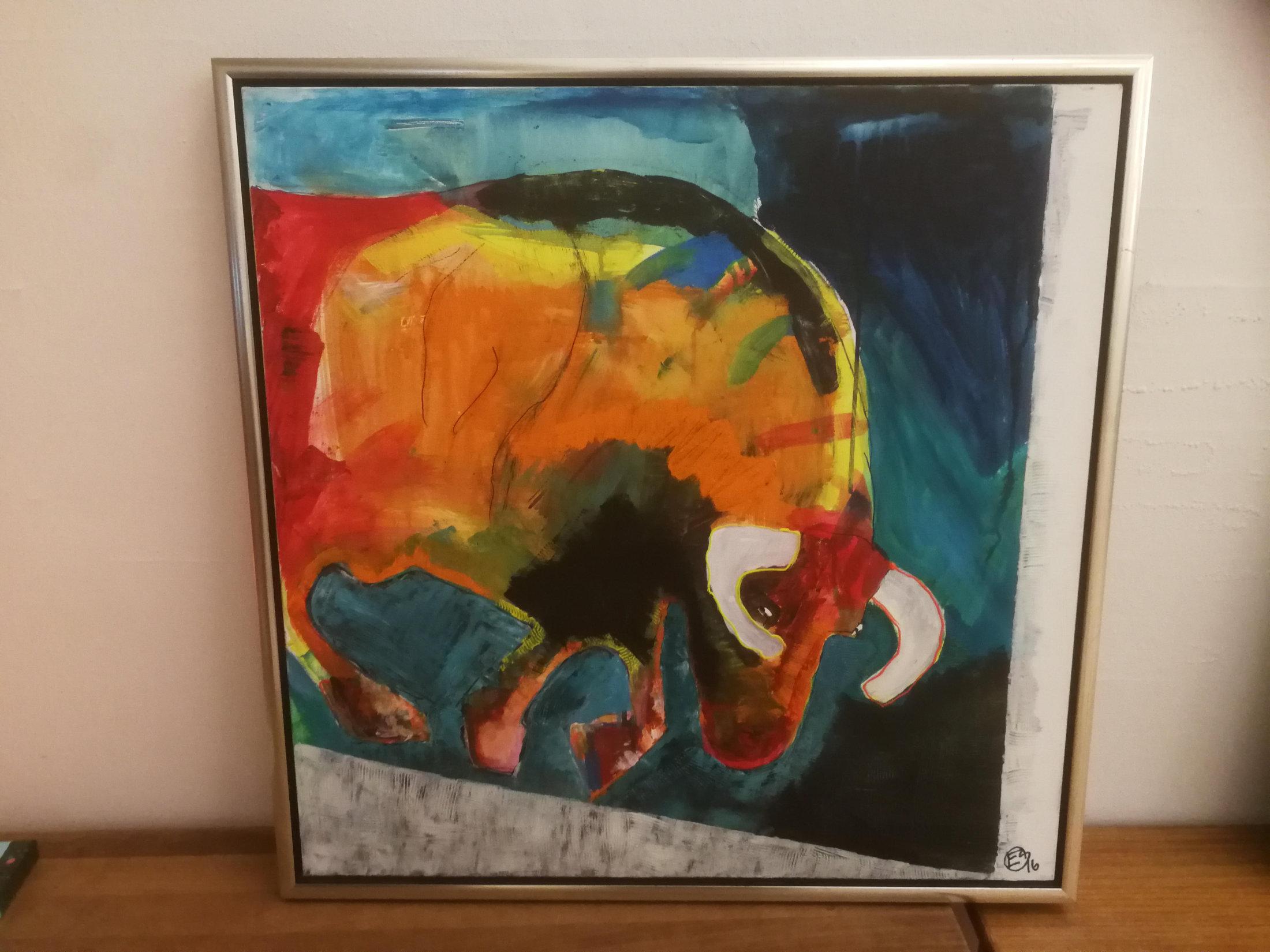 Lod Nr. 7 Maleri Med Tyr Af Erik Sønderby